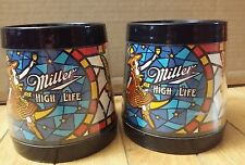 """Miller High Life Set of 2 Thermo Serv Insulated Beer Mugs by DART 4"""" VINTAGE"""