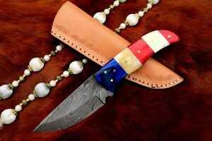 MH KNIVES CUSTOM USA FLAG DAMASCUS STEEL FULL TANG HUNTING/SKINNER KNIFE MH-319F
