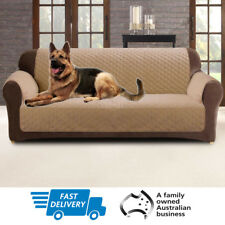 Couch Sofa Cover | Custom Fit | Slipcover Pet Protector | 2 Seater | Dark Flax