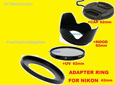 ADAPTER RING+UV FILTER+HOOD+CAP 62mm for CAMERA NIKON COOLPIX P510 P520 P530 62