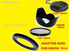 TO NIKON P510 P520 P530 CAMERA-  ADAPTER RING+UV FILTER+LENS HOOD+CAP 62mm