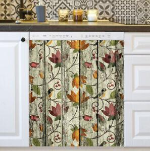 Kitchen Dishwasher Magnet - Flowers on Wood Rustic Bohemian Design #4
