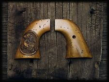 RUGER AGED IVORY GRIPS w/ CARVED FOLDED EAGLE ~ NEW VAQUERO, 50TH ANV, MONTADO