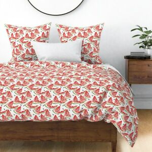 Watercolor Watermelon Summer Red Green Fruit Sateen Duvet Cover by Roostery