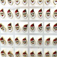 7x14mm Gold Tone Enamel Santa Claus Earring Studs Fit Christmas Party 36 Pairs