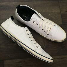 Topman mens shoes size 11 white leather sneakers canvas 55002 212