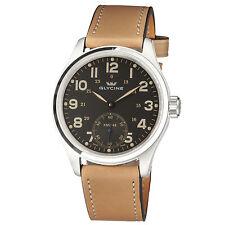 Glycine Men's 3906.19AT LB33 KMU 48 Manual Wind Black Dial Tan Leather Watch