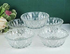 Set of 5 Cut Glass Dessert Bowls - Clear Glass