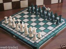 Brand New Green Hand Crafted  Wooden Chess Set 31.5cm x 31.5cm