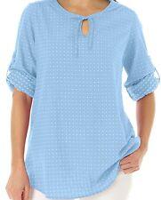 BRAND NWT Swiss Dot Peasant-Style SKY BLUE White Dot Tunic Cotton Top PLUS 14/16