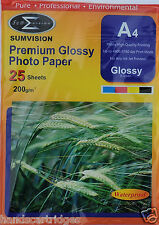 200 Sheets Sumvision A4 200gsm Premium Gloss Photo Paper