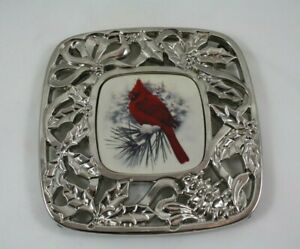 Lenox Winter Greetings (?) Cardinal Silver Tone Metal Hot Plate Trivet