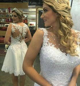 Sleeveless Short Wedding Dresses Knee Length Beaded Appliques A Line Bridal Gown