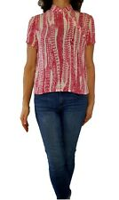 CARLISLE $195 6 S red pink feather print 100% silk s/s Asian style button neck
