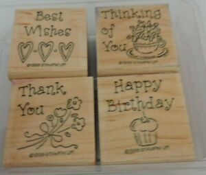 Stampin Up Mounted Stamp Set Simple Wishes Happy Birthday Thank You DIY Cards