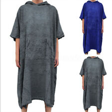 Adult Mens Changing Robe Towel Bath Hooded Beach Towel Poncho Bathrobe Towel UK