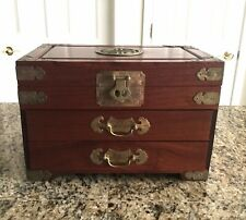 Asian Solid Wood Dresser Silk Lined Jewelry Chest SHOU Chinese Longevity Symbol