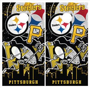 Pittsburgh Steelers Penguins Cornhole Board Wraps Vinyl Laminated HIGH QUALITY!