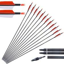 Archery 12X 31'' Carbon Arrows Hunting SP400 Recurve Compound Bow Turkey Feather