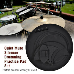 10Pcs Bass Snare Drum Sound Off Mute Silencer Drumming Rubber Practice Pad Kit