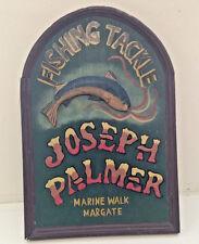 Vintage Fishing Tackle Shop Sign Wall Hanging Joseph Palmer Marine