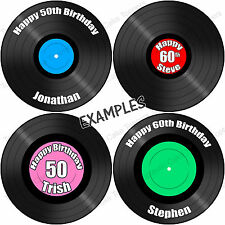 Personalised Vinyl Music Record 7.5 Inch Round Edible Icing Party Cake Topper