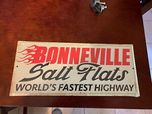BONNEVILLE SALT FLATS Worlds Fastest Highway Embossed TIN SIGN VINTAGE LOOK!