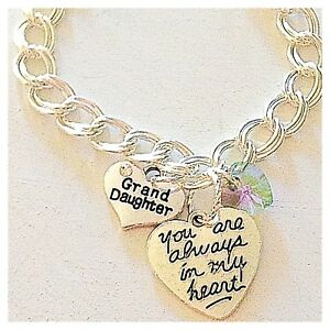 Grand Daughter Silver Custom Charm Bracelet 'You Are Always in My Heart' Jewelry