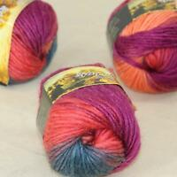 Sale Lot of 3 Skeins New Knitting Yarn Chunky Colorful Hand Wool Wrap Scarves 01