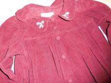 euc Strasburg maroon cord  dress with bow collar girl 3T free ship USA