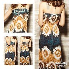 womens tribal floral boho maxi dress size 10 au new