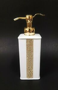 NEW WHITE PORCELAIN,GOLD PUMP,CRYSTALS STRIPE SOAP,LOTION BATHROOM DISPENSER