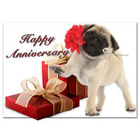 c182; Large Personalised Birthday card; Custom made for any name; Cute Pug Dog