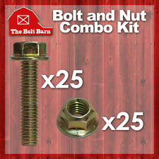 (25) 3/8-16x1 Grade 8 Hex Flange Bolts & (25) 3/8-16 Flange Lock Nuts Yellow