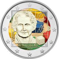 2 Euro Gedenkmünze Italien 2020 coloriert  mit Farbe / Farbmünze Montessori 1