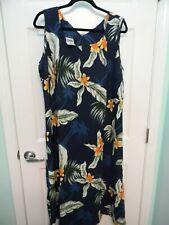 HAWAIIAN ALOHA DRESS - PLUMERIA FLOWER & PALM TREES PRINT - WOMEN'S SIZE 2XL