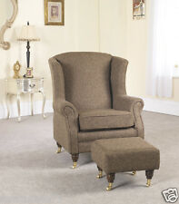 Brown Fabric Material Fireside Armchair + Footstool with castors VICTORIANNA