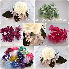 Wedding rose buttonholes flowers corsage bride bridesmaid groom & Babies Breath
