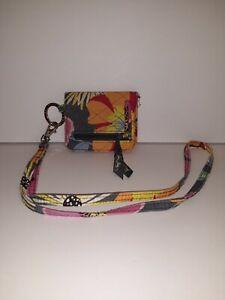 Vera Bradley Zip ID Case Wallet In Jazzy Blooms with lanyard