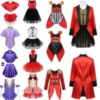 Kids Girl Circus Ringmaster Cosplay Costume Showman Fancy Dress Halloween Outfit