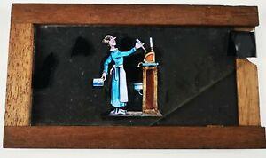 VICTORIAN HAND PAINTED MAGIC LANTERN SLIPPING SLIDE / PRACTISING AT THE BAR