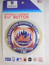 """New York Mets 1988 Eastern Division Championship Pin National  NIP 3 1/2"""" Button"""