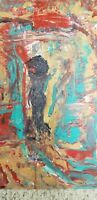 Original Abstract Woman Painting Signed By Artist, Fine Art On Canvas Panel
