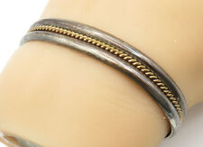 TAHE NAVAJO 925 Silver & 12K GOLD - Vintage 2 Tone Twist Cuff Bracelet - B6642