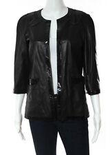 NWT CHANEL Black Leather Patent Leather Trim  3/4 Sleeve Jacket Sz FR 40 $5520