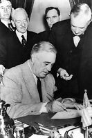 New 5x7 World War II Photo: Franklin Roosevelt Signs War Declaration for Germany