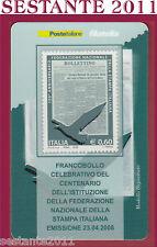 TESSERA FILATELICA FRANCOBOLLO FEDERAZIONE NAZIONALE STAMPA ITALIANA 2008 M22