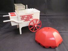 "VTG Ideal Plastic Toy Hot Dog, Ice Cream, Soda Vending Cart, ""FOR PARTS"", White"