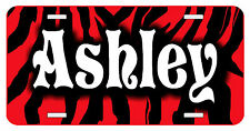 Personalized Monogrammed Custom License Plate Auto Car Tag Zebra Stripes Red