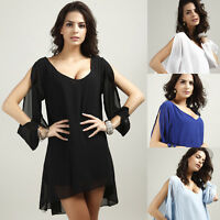 Women's Chiffon Solid Color Cold Shoulder Batwing V-Neck  Cocktail Dress